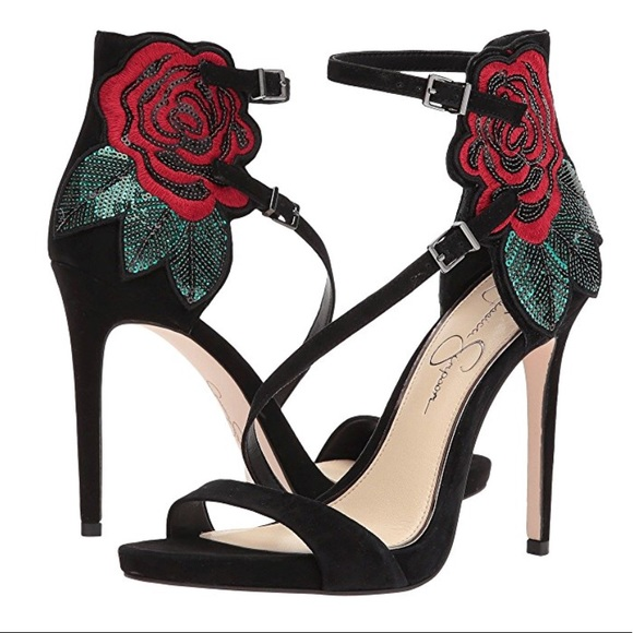 c700d7c677dd Jessica Simpson REESA SUEDE ROSE EMBROIDERY HEELS